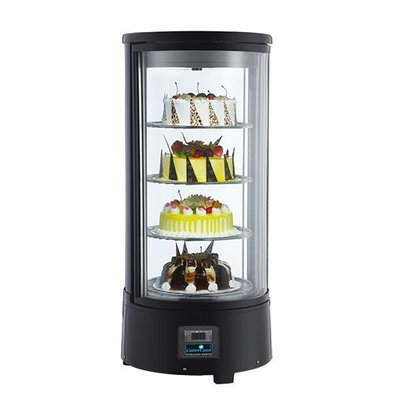 CaterCool Refrigerated display case Pastry design Black 4 layer - 72 liters - 930 (h) x450mm | rotating platforms