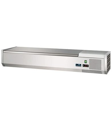 CaterCool Refrigerated display case design - 3x 1/2 GN or 6 x 1/4 GN - Stainless steel lid - 120x34x (H) 24 cm