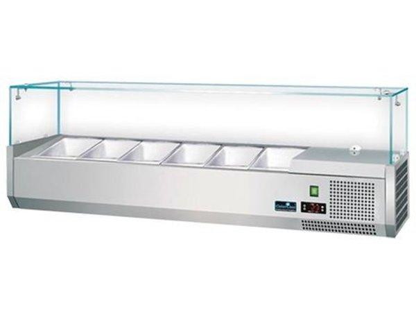 CaterCool Opzetkoelvitrine RVS met Glas Top - 3x 1/2 GN of 6x 1/4 GN - 140x34x(H)44 cm