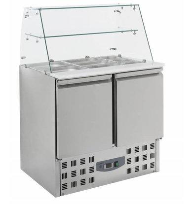 Combisteel Saladette 2 deurs | Glasopstand | 2,4kW | 900x700x850(h)mm