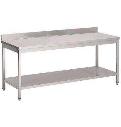 Gastro M RVS Werktafel met Onderblad en Achteropstand | 70x85cm | Keuze uit 8 Breedtes