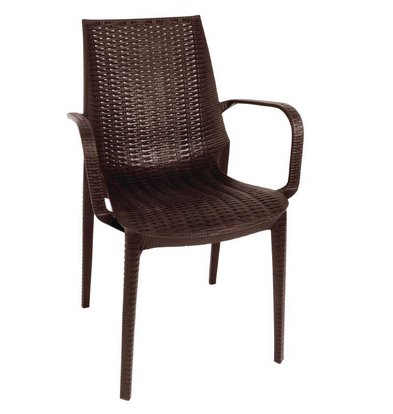 XXLselect Synthetic Rattan chair with armrest | brown | 4 pieces