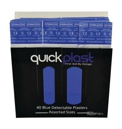 XXLselect Blue Detectable Plasters | Quick Plast | 40 Pieces Assorted