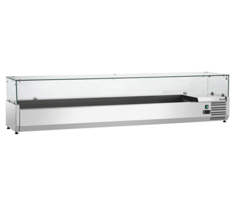 Bartscher Gekoelde opzetvitrine met Glas Top - 9x 1/3 GN of 18x 1/6 GN - 200x39,5x(H)42,5 cm
