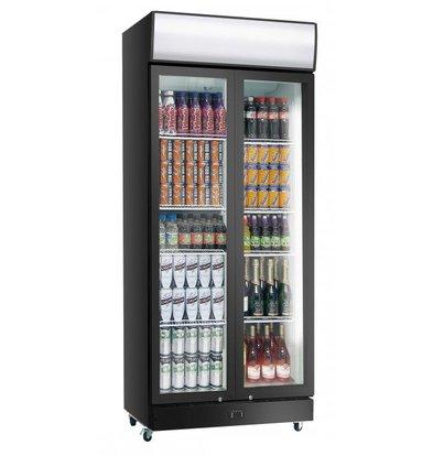 Exquisit Display Fridge Black PVC   Folding doors   800 liters   1010x660x2000 (h) mm