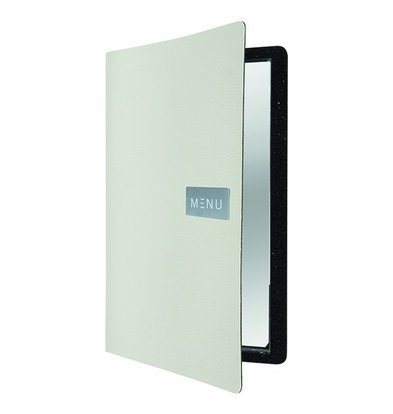 Securit Leather Menu Raw | White | A4 format