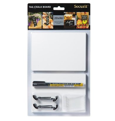 Securit Chalkboard Pricetags A6 | Washable | Incl. Holders and Chalksticks