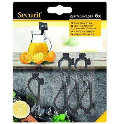 Securit Clips Zwart | voor Krijtbord Pricetags (excl.) | Per 6 stuks