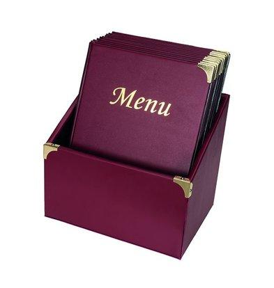 Securit Menukaarten Box incl. 10 Menukaarten Bordeaux Basic | Formaat A4 | 370x290x210mm