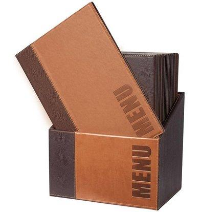 Securit Box incl. 20 Menu Cards Trendy | Light brown | Format A4 | 370x290x210mm