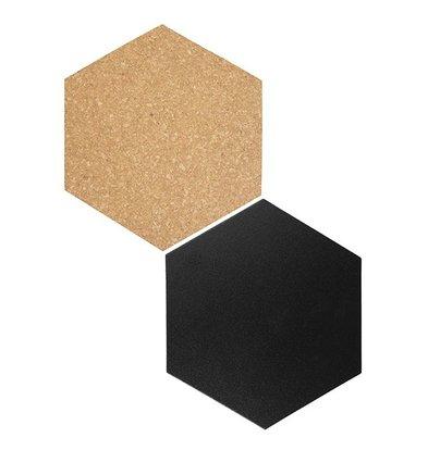 Securit Decoration Hexagon | 4x Chalkboard, 3x Cork | Incl. Chalkstick and Velcro Strips | 155x180mm