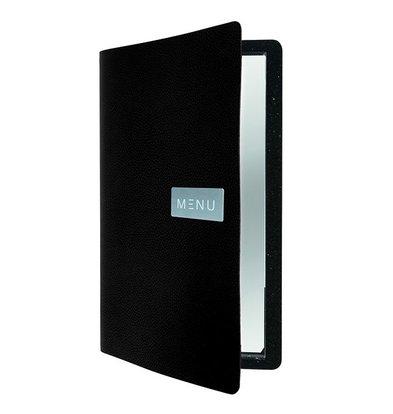 Securit Leather Menu Raw | Black | A4 format