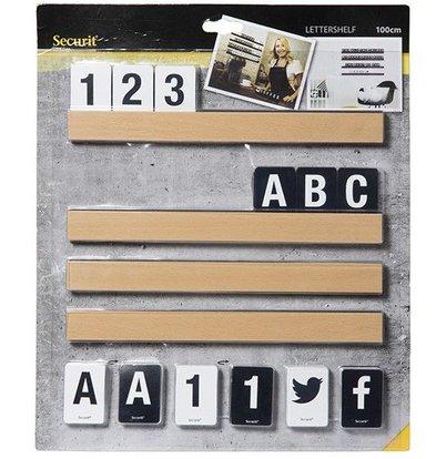 Securit Letterboard Teak | Incl. Letters and Figures | 1m shelf