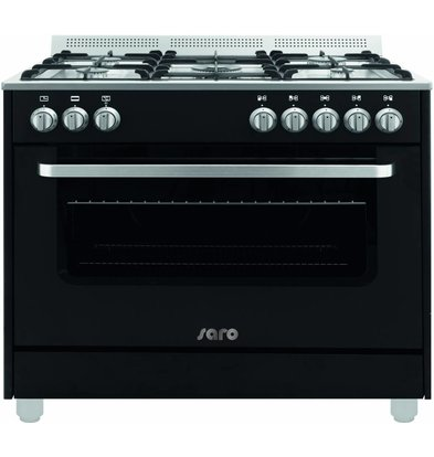 Saro Gas cooker 5 Pits + Electric Oven Black   230V   900x600x850 (h) mm