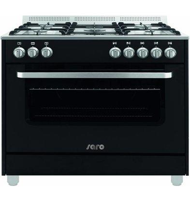 Saro Gasfornuis 5 Pits + Elektrische Oven Zwart   230V   900x600x850(h)mm