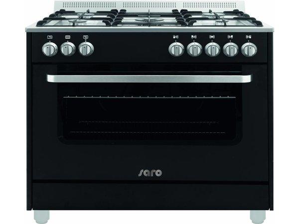 Saro Gasfornuis 5 Pits + Elektrische Oven Zwart | 230V | 900x600x850(h)mm