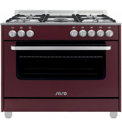Saro Gas cooker 5 Pits + Electric Oven Red   230V   900x600x850 (h) mm
