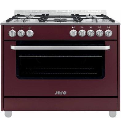 Saro Gasfornuis 5 Pits + Elektrische Oven Rood   230V   900x600x850(h)mm