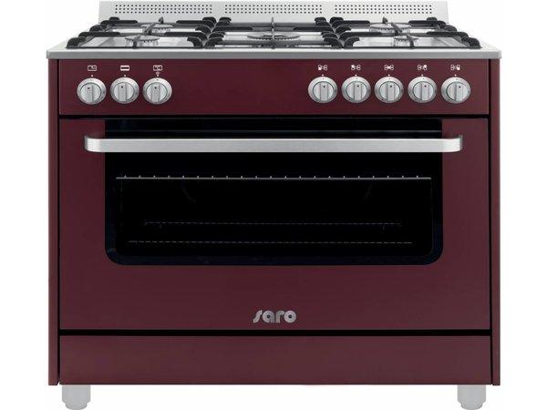 Saro Gasfornuis 5 Pits + Elektrische Oven Rood | 230V | 900x600x850(h)mm