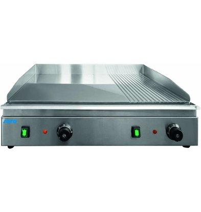 Saro Grillplaat Elektrisch | 3,5kW/230V | Chromen Bakplaat 2/3 Glad 1/3 Geribd