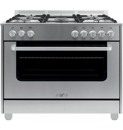 Saro Gas cooker 5 Pits + Electric Oven Silver | 230V | 900x600x850 (h) mm
