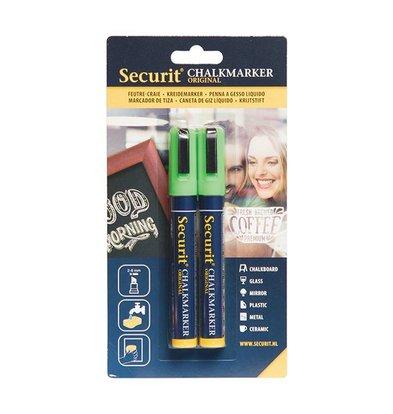 Securit Set van 2 Medium Krijtstiften | Groen | 2-6mm