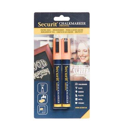 Securit Set van 2 Medium Krijtstiften | Oranje | 2-6mm