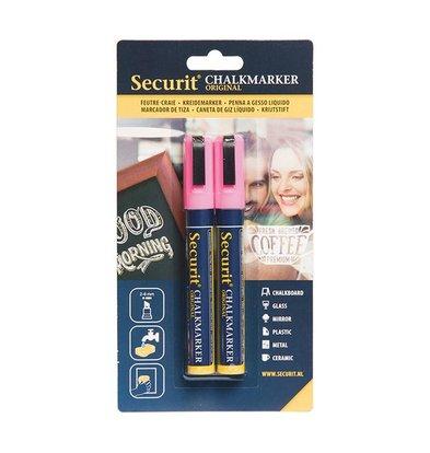 Securit Set van 2 Medium Krijtstiften | Roze | 2-6mm