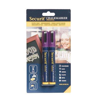 Securit Set van 2 Medium Krijtstiften | Paars | 2-6mm