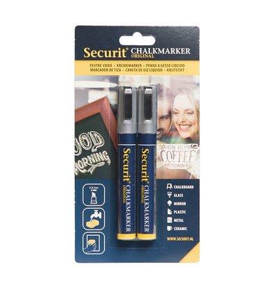 Securit Set van 2 Medium Krijtstiften | Zilver | 2-6mm