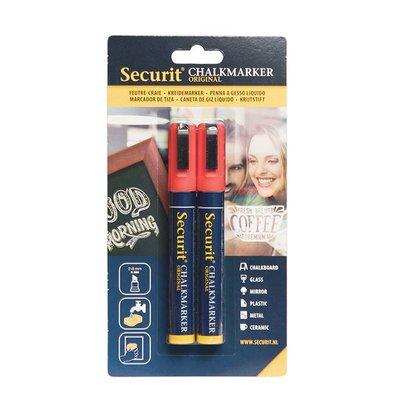 Securit Set van 2 Medium Krijtstiften | Rood | 2-6mm