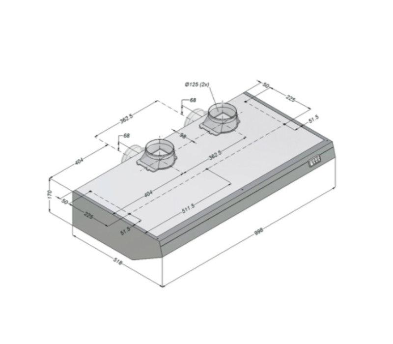 Bartscher Novy afzuigkap Inclusief Motor en Verlicht | 1000x520x(h)170mm