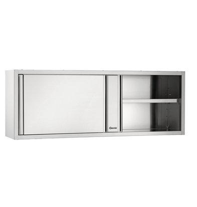 Bartscher Wardrobe Stainless Steel - with 2 Sliding doors - Between 1 Adjustable Shelf | 1800 (B) | 400 (D) | 660 (H) mm
