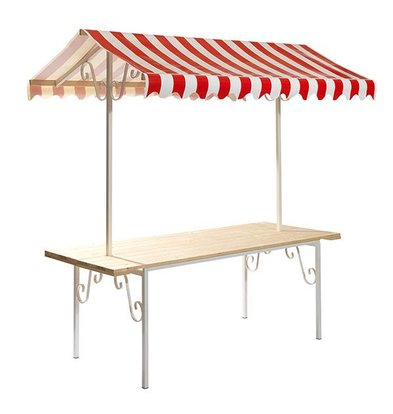XXLselect French Market Stall Complete | Roof Red / White | 2050x800x2200 (h) mm