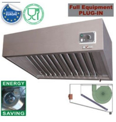 Diamond Steam hood stainless steel | 2 Anti Fat Filters | 1000x700xh460mm