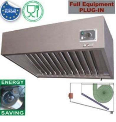 Diamond Steam hood stainless steel | 3 Anti Fat Filters | 1500x700xh460mm