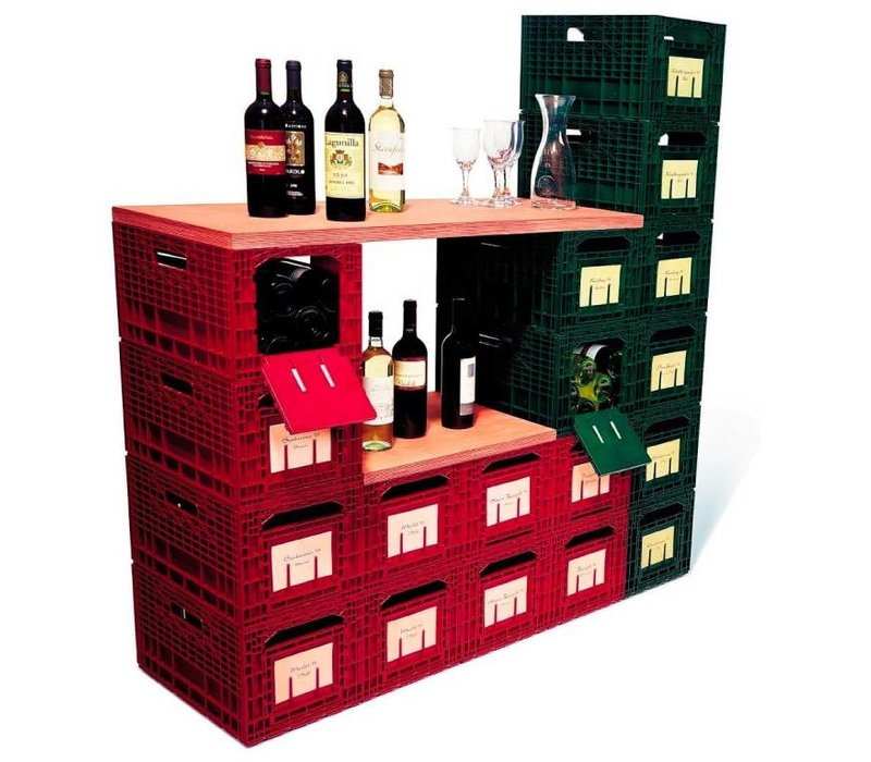 XXLselect WijnBox Opslag - Rood - 12 Flessen - Stapelbaar