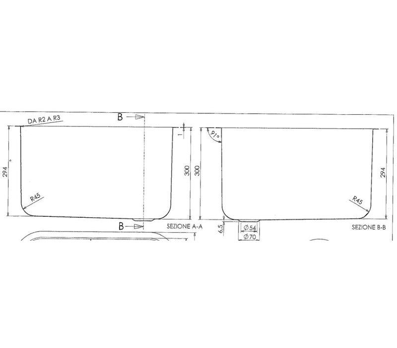 Combisteel Spoelbak | 500x500(H)300mm
