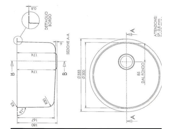 Combisteel Spoelbak Rond   Ø300x(H)180mm