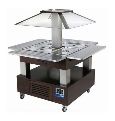 Diamond Bain Marie Refrigerated Island - Buffet Cooling 4 x 1/1 GN Wenge Wood
