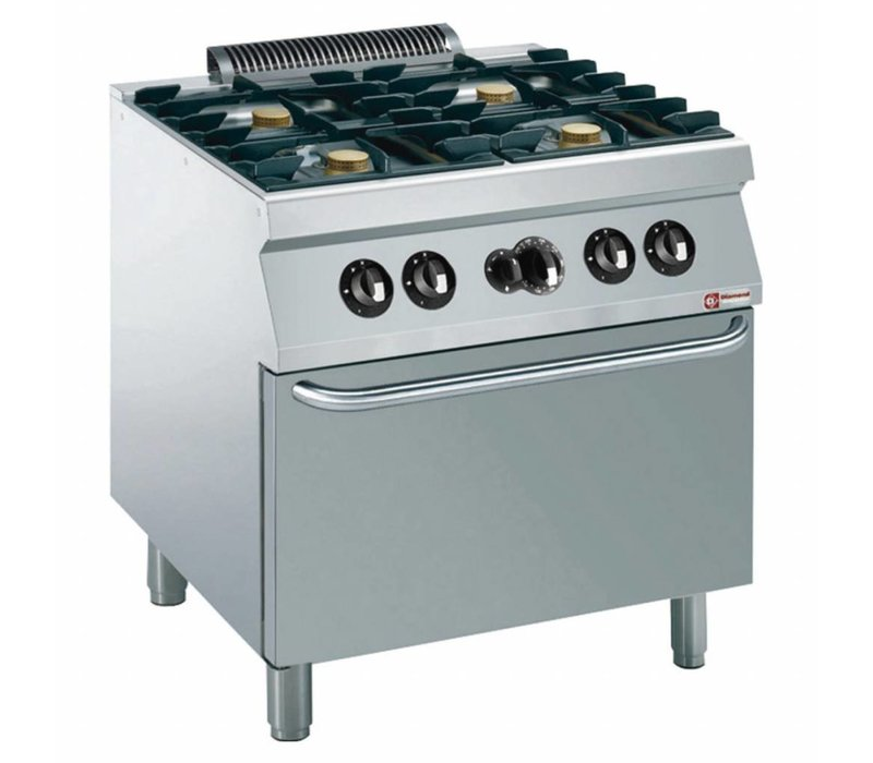 Diamond Fornuis | 4 Branders met Gas Oven | 5,5kW | 800x700x(h)850/920mm