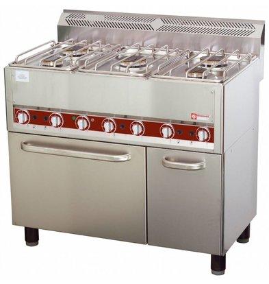 Diamond Horeca Fornuis   Gas   5 Branders   Convectie Oven   3 en 3,6kW   990x600x(h)860mm