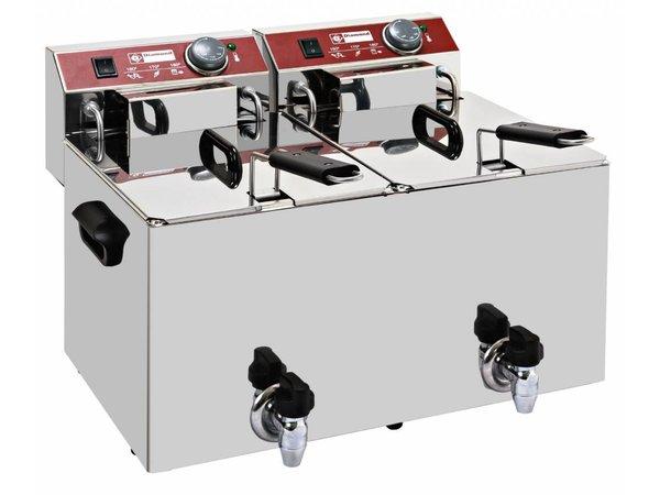 Diamond Elektrische Friteuse PRO | 2x10 Liter | Met Aftapkranen | 9 kW | 560x450x(H)375mm
