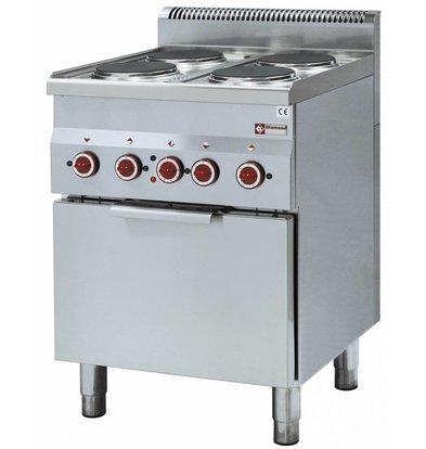 Diamond Fornuis | Elektrische Convectie Oven | 4 Kookplaten | 400V | 12kW | 600x600x(h)850/970mm
