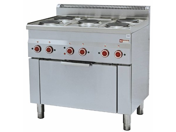 Diamond Fornuis | Elektrische Convectie Oven | 5 Kookplaten | 400V | 14kW | 900x600x(h)850/970mm