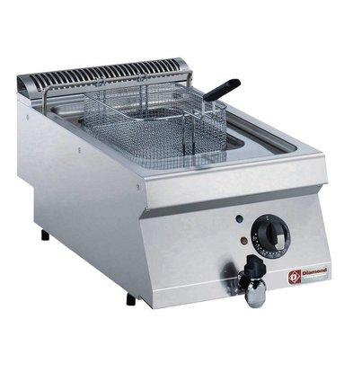 Diamond Friteuse Gas RVS | 7 Liter | Met Koudezone | 120°C en 190°C | 400x700x250/320(h)mm