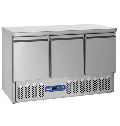 Diamond Koelwerkbank - RVS - 3 deurs - 1365x70x(h)87cm - 380 Liter
