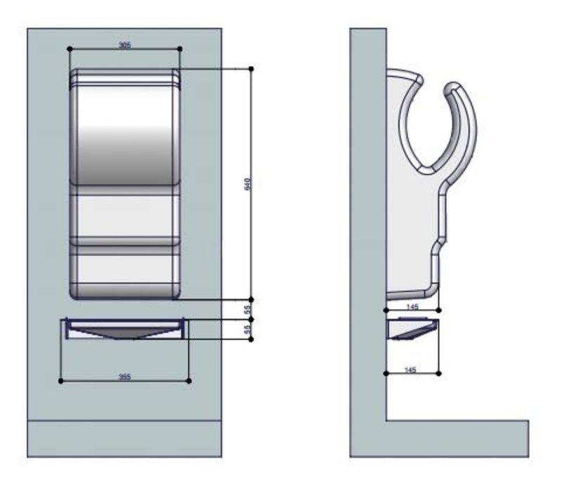 XXLselect Wateropvangbak / Lekbak voor Dyson Handdroger (Universeel) | WIT + RVS Spatwand