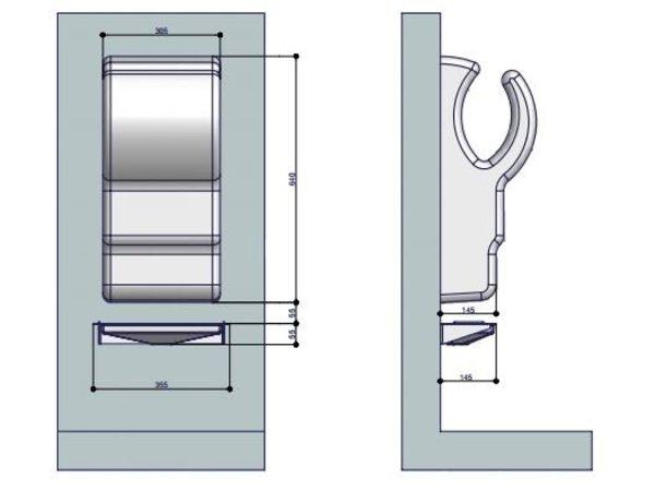 XXLselect Wateropvangbak / Lekbak voor Dyson Handdroger (Universeel) | GRIJS + RVS Spatwand