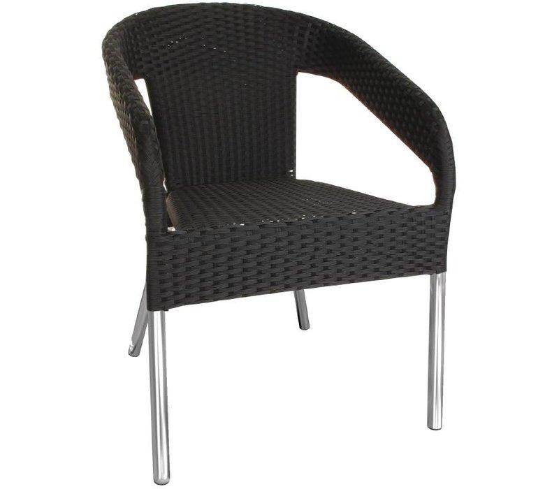 Bolero Zwarte Stapelbare Stoelen Rotan - Kunststof DELUXE - Prijs per 4 stuks